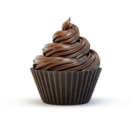 chocolate cupcake isolated on a white. 3d illustration