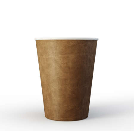 papper cup isolated on a white. 3d illustration Standard-Bild