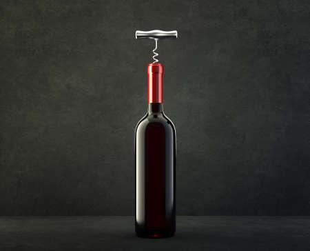 wine bottle isolated on a black. 3d illustration Standard-Bild