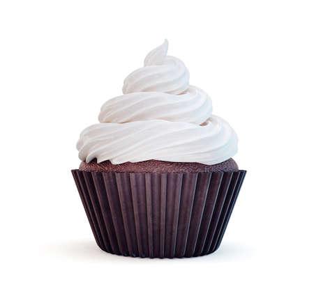cupcake isolated on a white. 3d illustration Standard-Bild