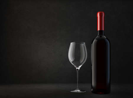 wine bottle and glass  isolated on a black. 3d illustration