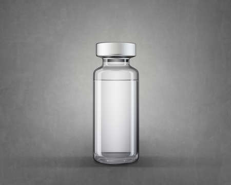 medical vial isolated on a grey. 3d illustration