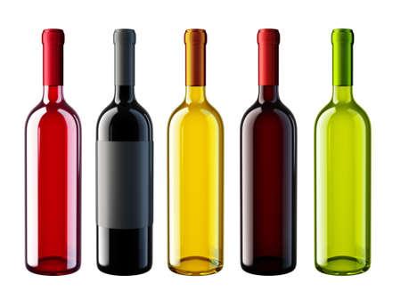 wine bottles isolated on a white. 3d illustration