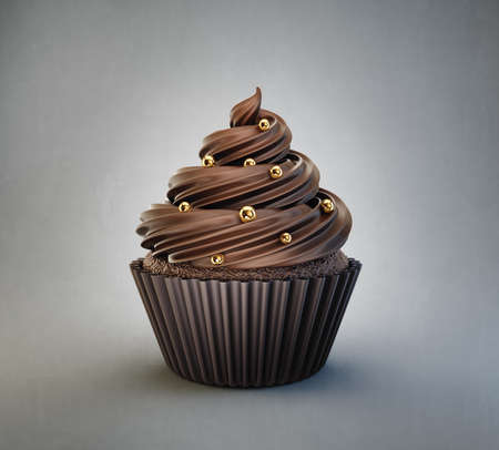 chocolate cupcake isolated on a grey. 3d illustration
