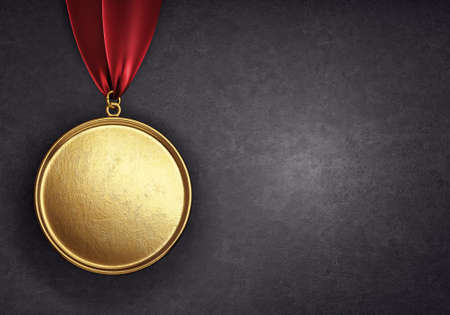 medal award isolated on a black background. 3d illustration