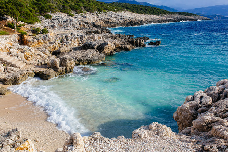 cefallonia: Kefalonia island with sunshine and clear sky Stock Photo