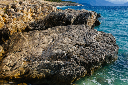 ionian: Kefalonia island with sunshine and clear sky Stock Photo