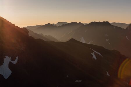 sunrise over the Fagaras Mountains, Romania. View from moldovanul Peak 2544m