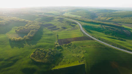 Aerial drone overhead of cars driving down straight road through leafless forest valley at sunset. Highway go through european ecosystem wildlife habitat natural environment concept