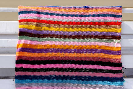 Knitted colorful cloth striped background