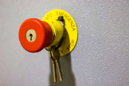 stop button with lock and keys