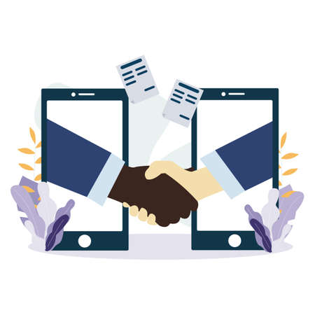 White and black American people shaking hands through mobile phone screens. Handshake Partnership or business success agreement.