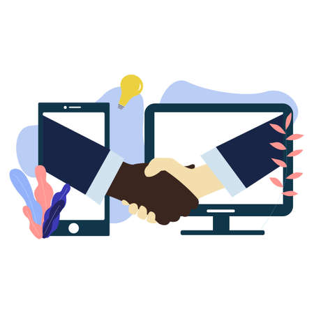 White and black American people shaking hands through computer and mobile phone screens. Handshake Partnership or business success agreement.