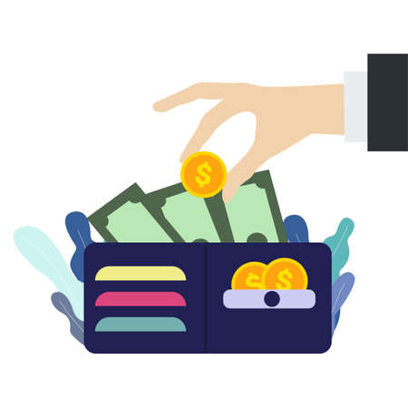 Hand putting income dollar coin in wallet. Wallet with money in flat style. Stealing cash concept. Isolated illustration