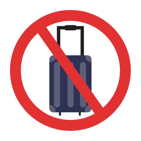 Ban on luggage. Travel ban. Stop travel isolated illustration. Stay home COVID-19 prevention. Illusztráció