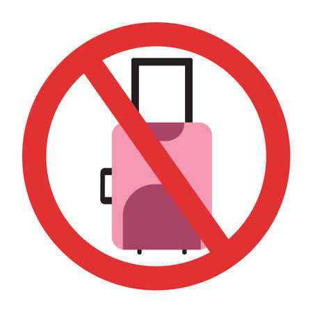 Ban on pink luggage. Travel ban. Stop travel isolated illustration. Stay home COVID-19 prevention.
