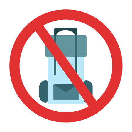 Ban on luggage. Travel bag ban. Stop travel isolated illustration. Stay home COVID-19 prevention.