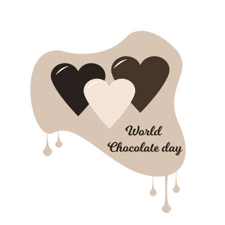 World chocolate day design with hearts. Chocolate hearts