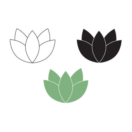 Lotus flowers design logo template icon set