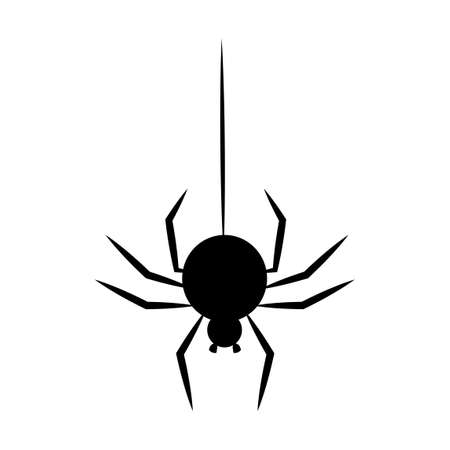 Black spider hanging on a thread. Halloween decoration element Ilustração