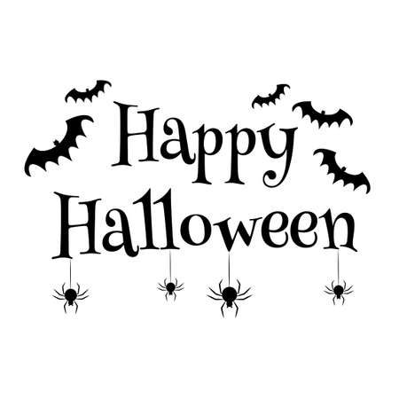 Happy Halloween text banner isolated on white bakcground