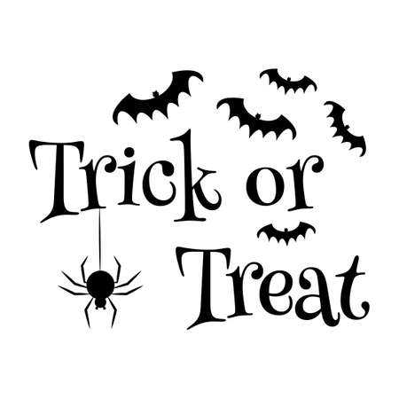 Trick or Treat text banner. Halloween isolated quote