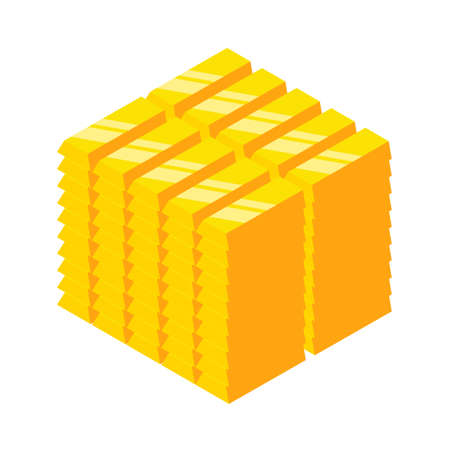 Isometric golden bars block. Gold bars folded on cube. EPS 10 Vector illustration