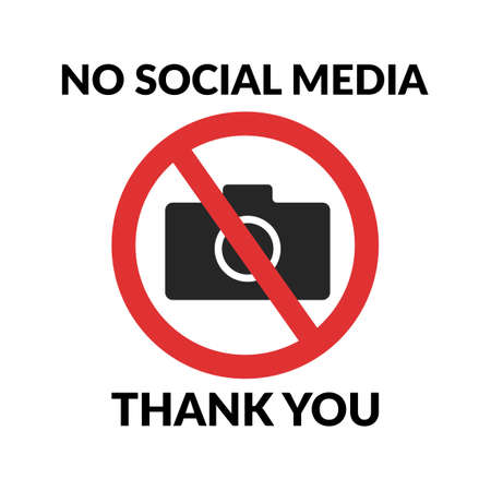 No social media, thank you quote design for t-shirt. Photo camera forbidden. Banned camera crossed icon. Not allowed to take a photos