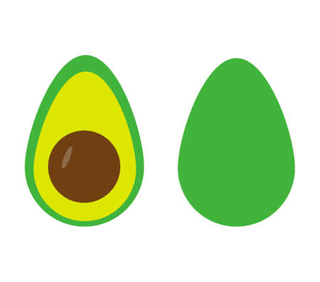 Whole and cut avocado fruit in flat style. Isolated on white background. 일러스트
