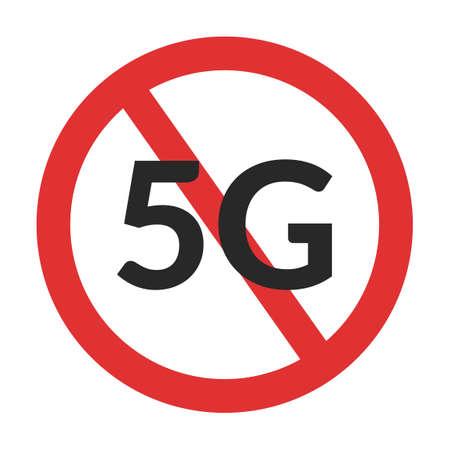 5g forbidden symbol. No 5G mobile network sign isolated Illusztráció