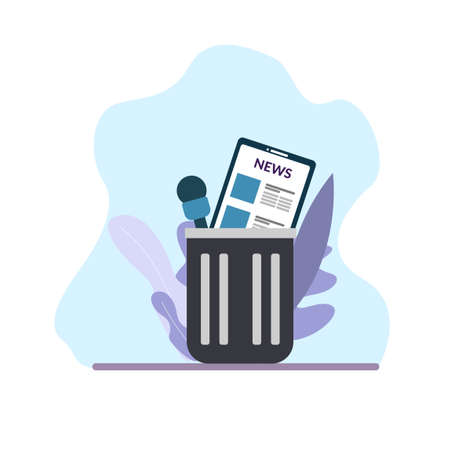 Fake news in trash. Microphone and mobile phone in garbage basket. Digital detox concept. Vector isolated illustration