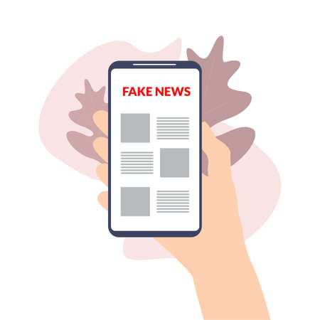 Hand holding smart phone with fake news concept