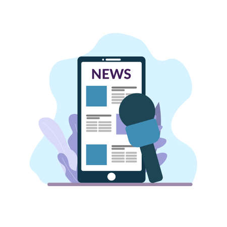 Online reading news. News on mobile phone and microphone for interview with decorations. Flat style illustration isolated on white background. Illustration