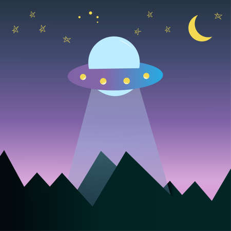 Flying saucer above the ground. Aliens flew to Earth to steal people for experiments template vector illustration