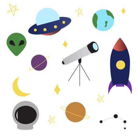 Space UFO objects set rocket, alien, planets, earth, telescope, constellation, stars, moon spaceship in flat cartoon style