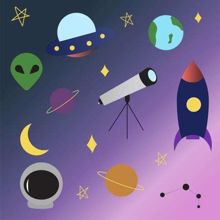 Space UFO elements set rocket, alien, planets, earth, telescope, UFO, constellation, stars moon spaceship in flat cartoon style Stock fotó - 152638426