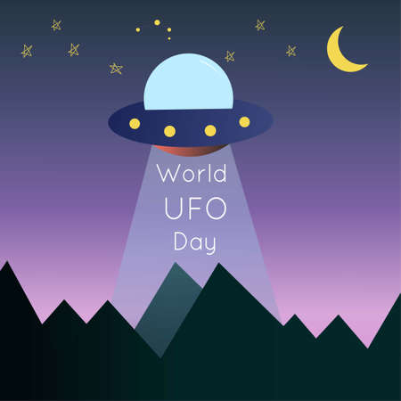 July 2 UFO day. The aliens flew to Earth to steal people for experiments. World UFO day vector illustration
