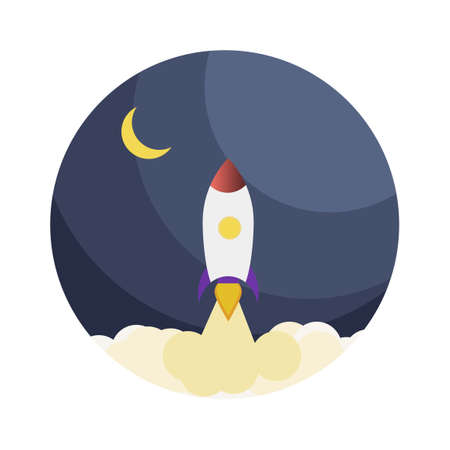 Rocket launch to galaxy icon in flat style. Business startup concept vector isolated illustration Stock fotó - 152638430