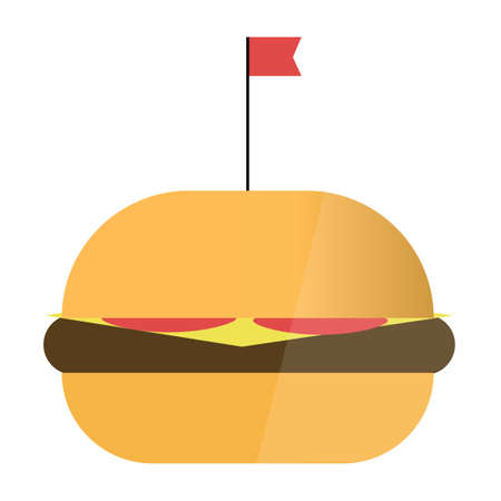 Hamburger with flag in flat style. Fast food vector isolated illustration set Ilustracja