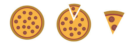 Pizza whole and with one cut piece. Fast food vector illustration set