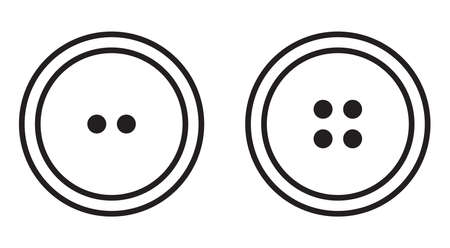 Sewing button icon set logotype. Vector isolated clothing buttons in outlinbe style vector logo  イラスト・ベクター素材