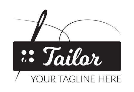 Tailor sewing needle with rectangular sewing button logotype. Tailor logo template vector symbol  イラスト・ベクター素材