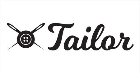 Tailor crossed sewing needles with sewing button logotype. Tailor logo template vector symbol