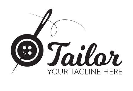 Tailor sewing Needle with sewing button logotype. Tailor logo template vector symbol