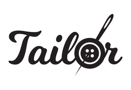 Tailor sewing needle in sewing button logotype. Tailor logo template vector symbol  イラスト・ベクター素材