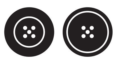Sewing button icon set logotype. Vector isolated black clothing buttons vector logo