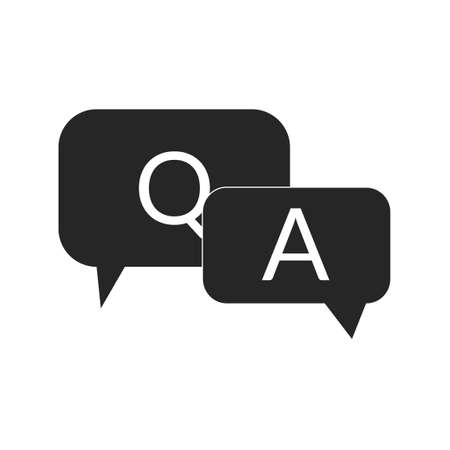 Q and A black icon Question and Answer with speech bubble symbol in filled black style
