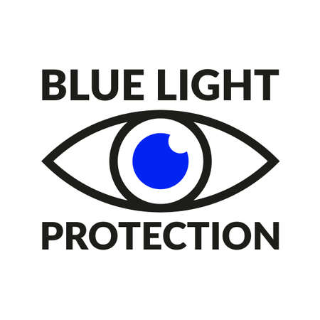 Blue light protection blue eye outline icon vector symbol