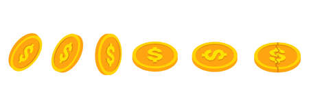 Golden coins set. Golden dollar coins in isometric style isolated on white background.