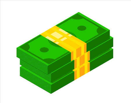 Pile of money icon. Isometric dollar banknotes. 3d Money icon vector illustration